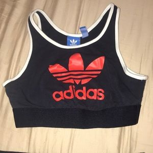 Navy blue and red adidas sports bra.